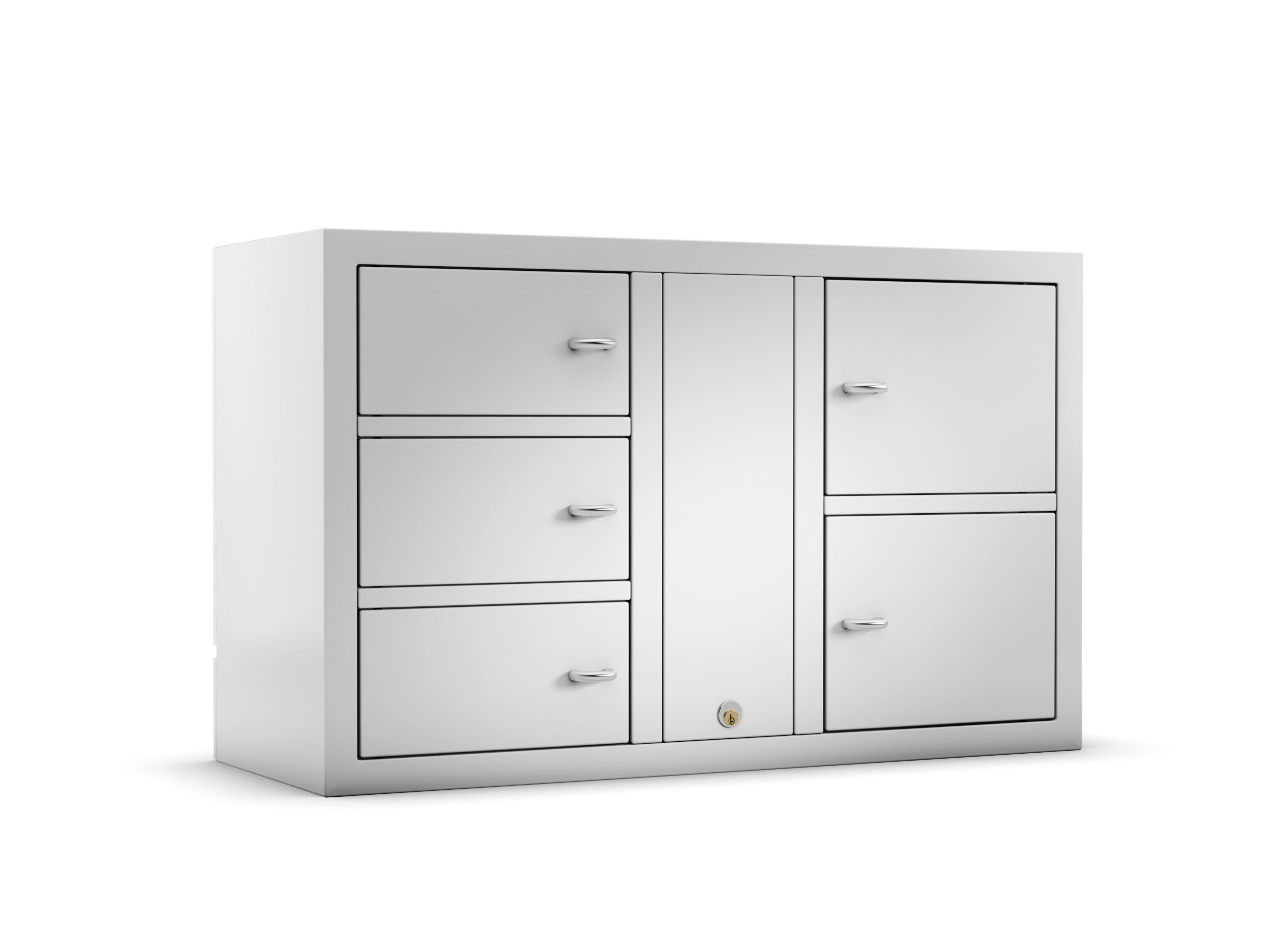 Valuables cabinet 7005 E in the Expansion series with 3 smaller doors and 2 larger doors