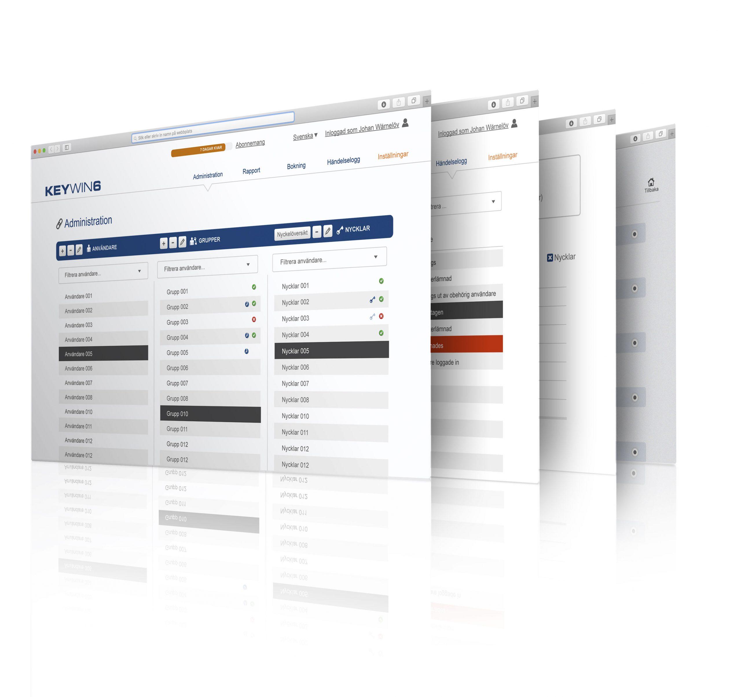 Meerdere schermen voor het sleutelmanagementprogramma KeyWin6