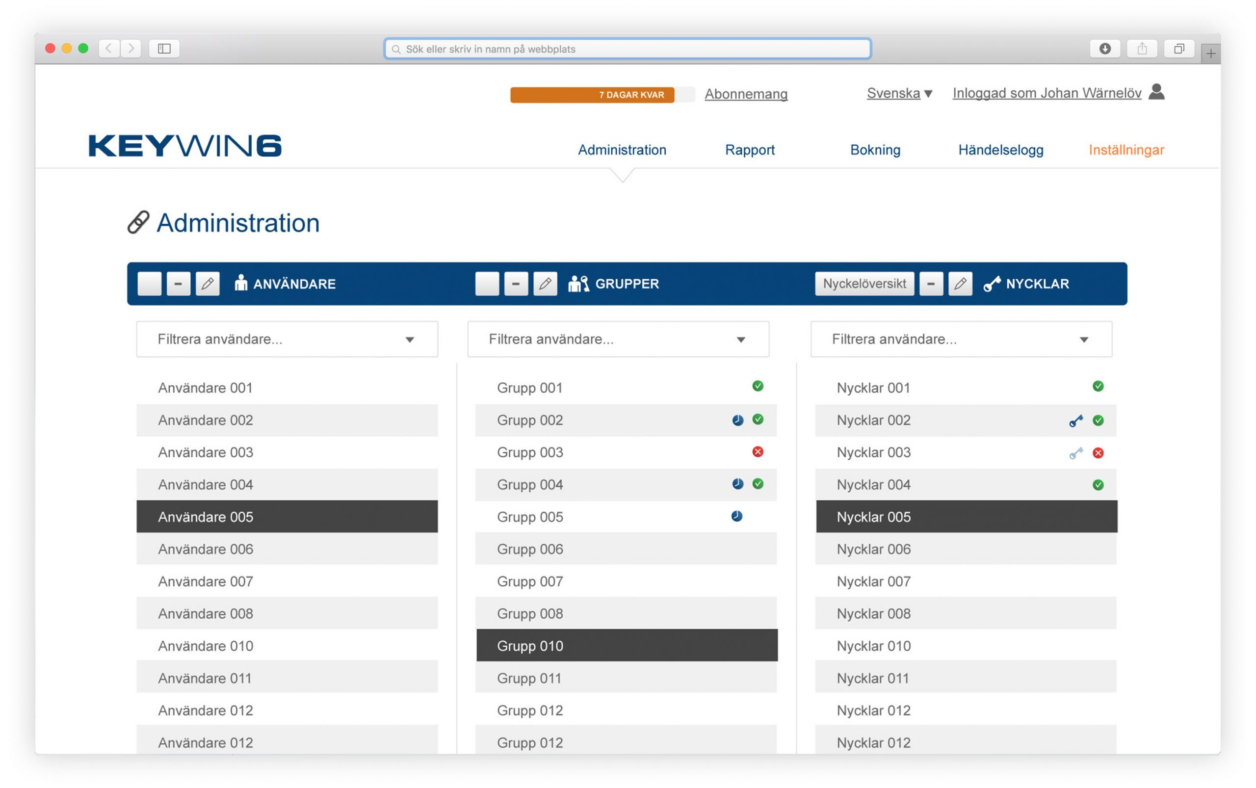 User, group, and key administration view in KeyWin key management software