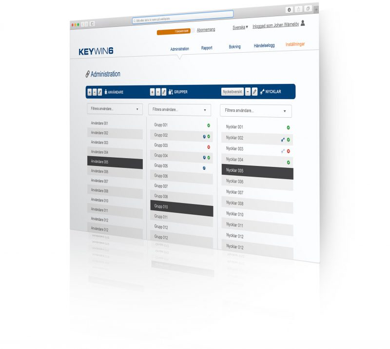 Program view for key management software KeyWin