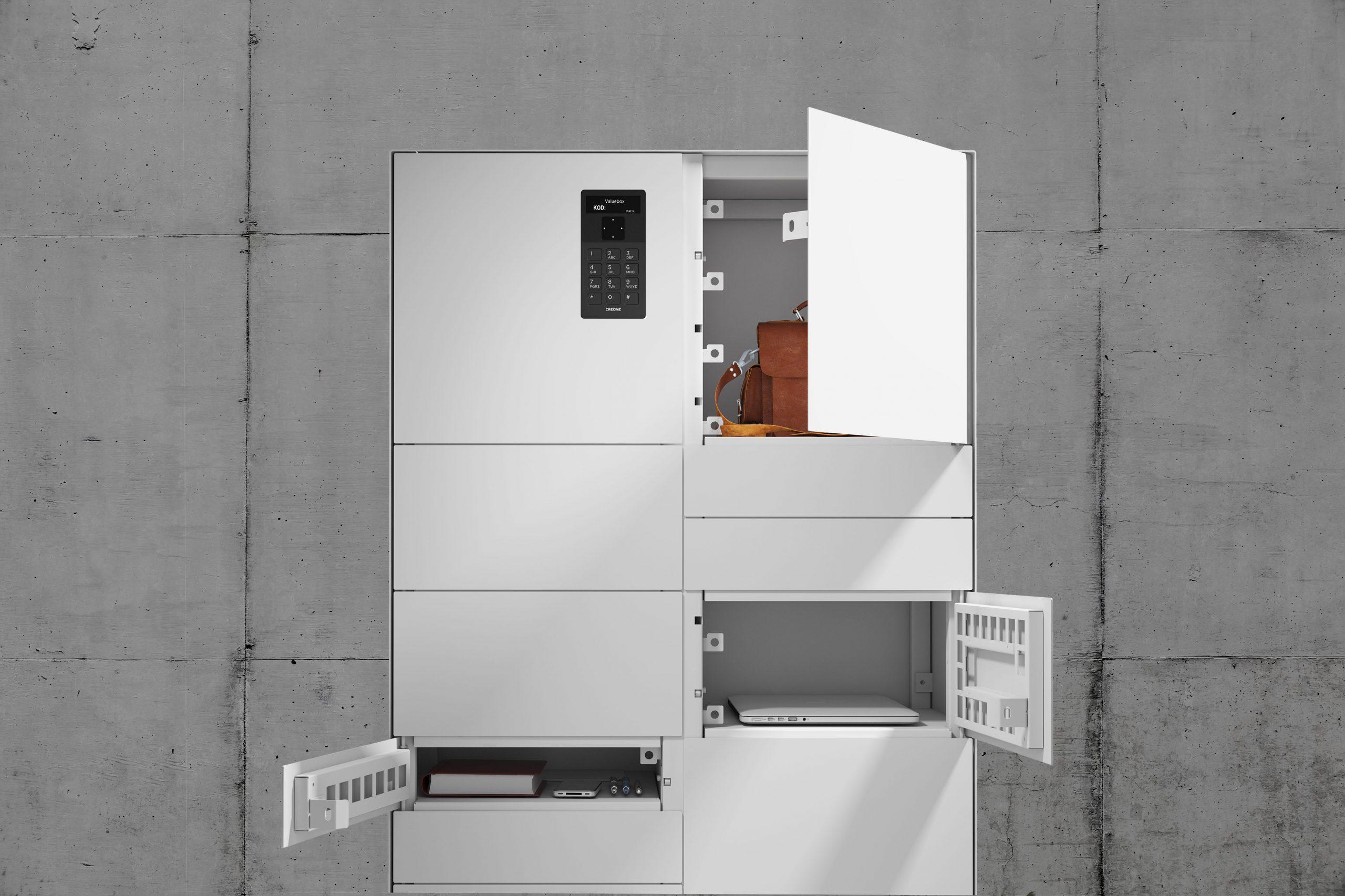 Armoire ValueBox SC de la série Control avec trois différents types de compartiments pour le stockage d'objets.