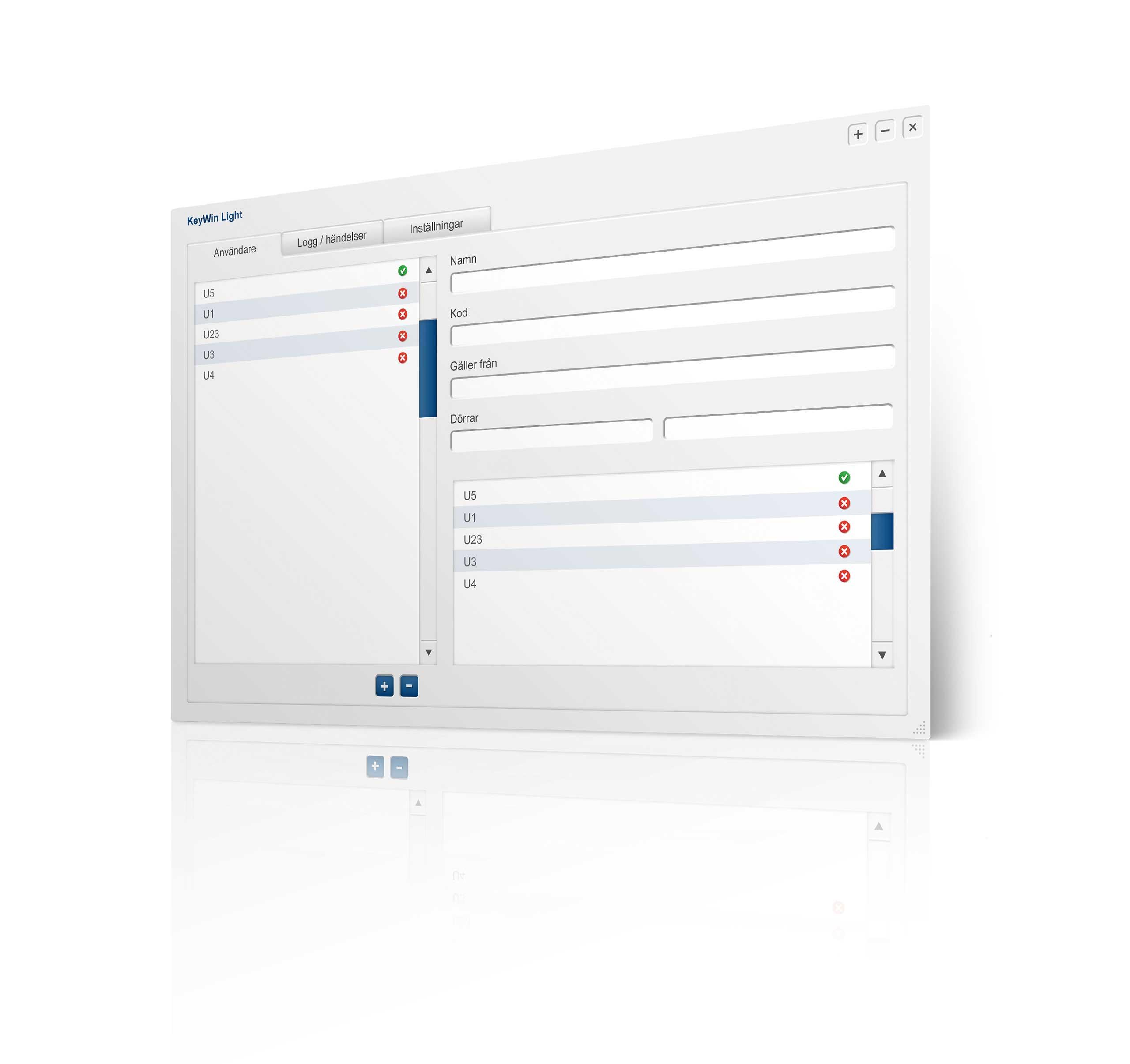 Vista del programa del software de gestión de llaves KeyWin Light