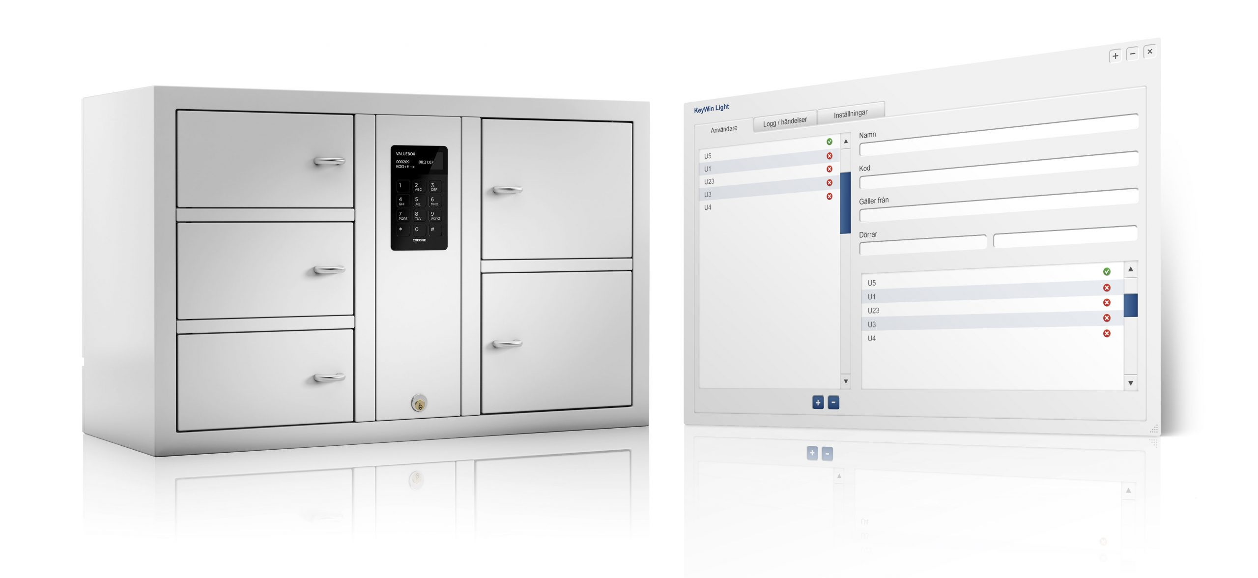 KeyWinLightソフトウェアを使用したValueBox7006 Sによる貴重品の管理
