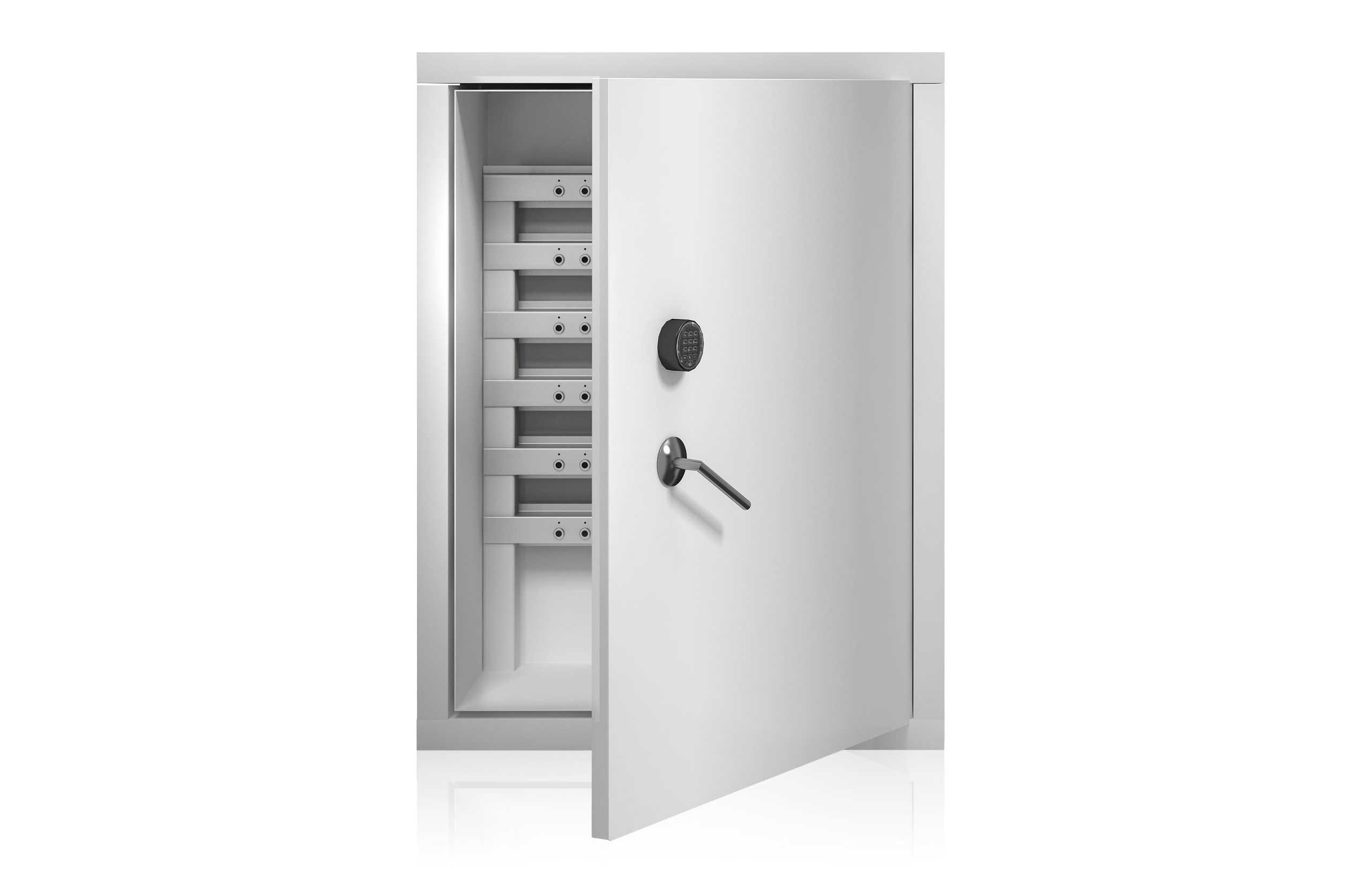 Intelligente sleutellijsten met een control box in een veiligheidskast voor een uniek sleutelmanagement.