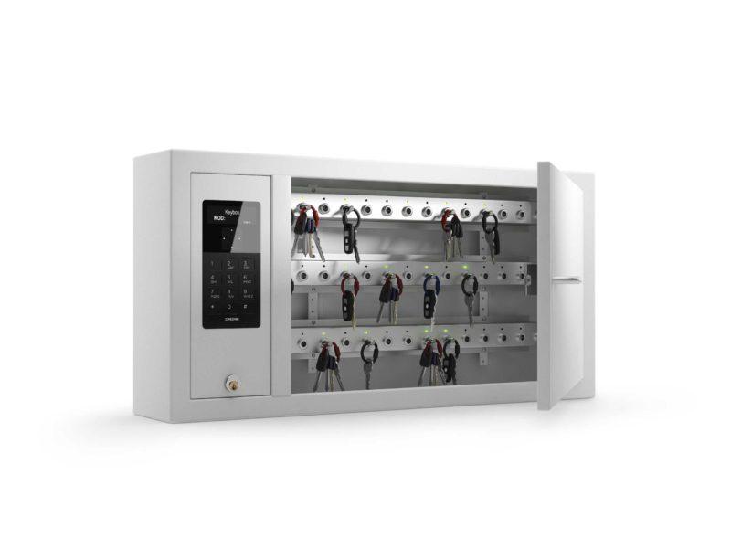 Armoire à clés 9400 SC de la gamme Keycontrol. Armoire ouverte montrant les racks qui organisent la gestion des clés.