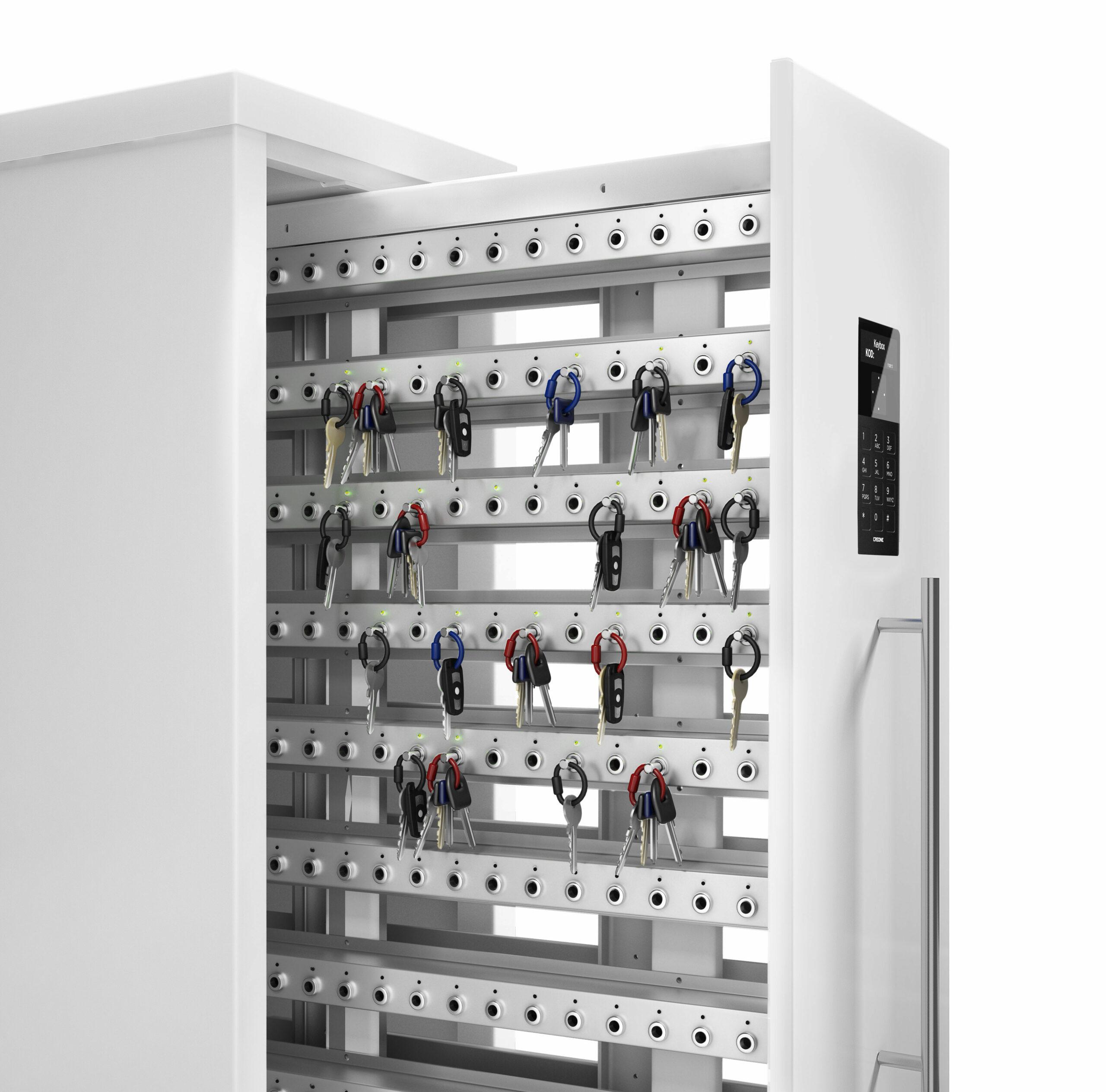 Armoire à clés 9600 SC de la gamme Keycontrol. Armoire ouverte montrant les racks qui organisent la gestion des clés.