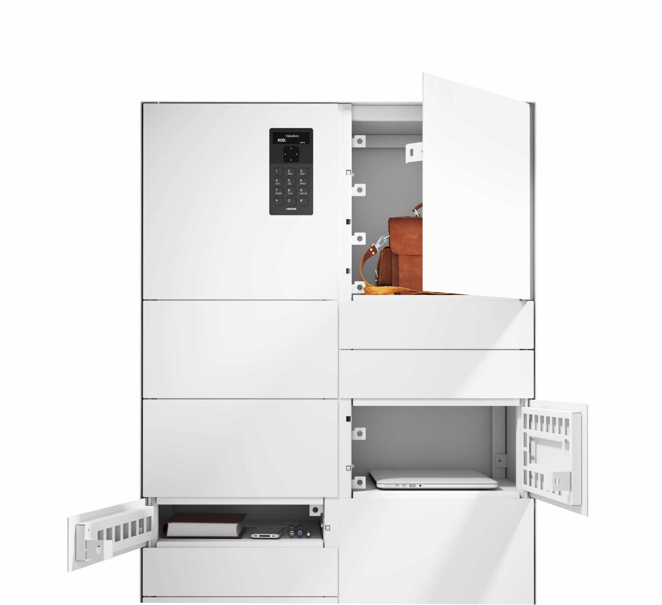 Armoire ValueBox SC de la série Control avec trois différents types de compartiments pour le stockage d'objets divers.