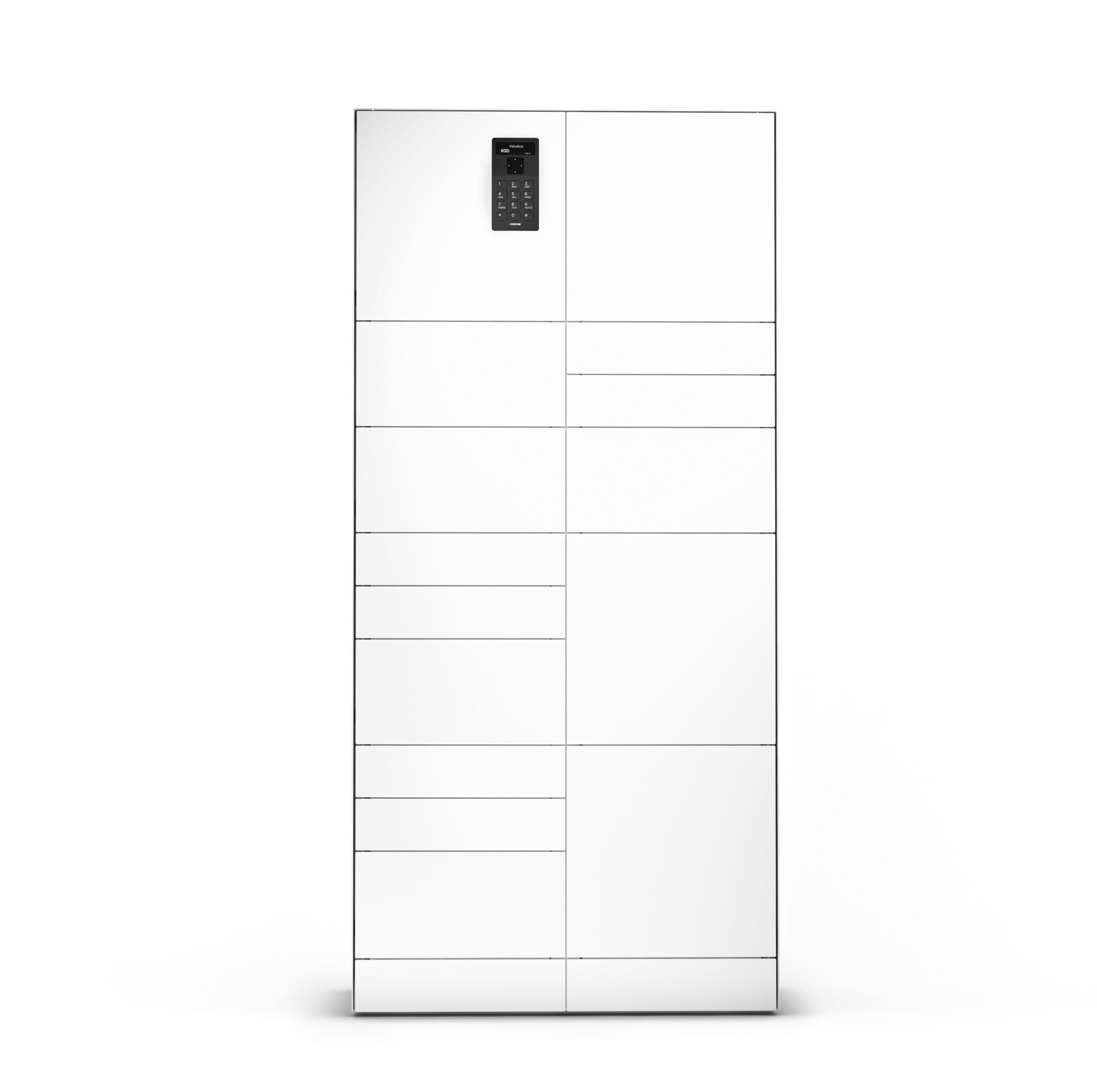 Armoire ValueBox SC de la série Control dimensionnée avec trois différents types de compartiments pour le stockage d'objets divers