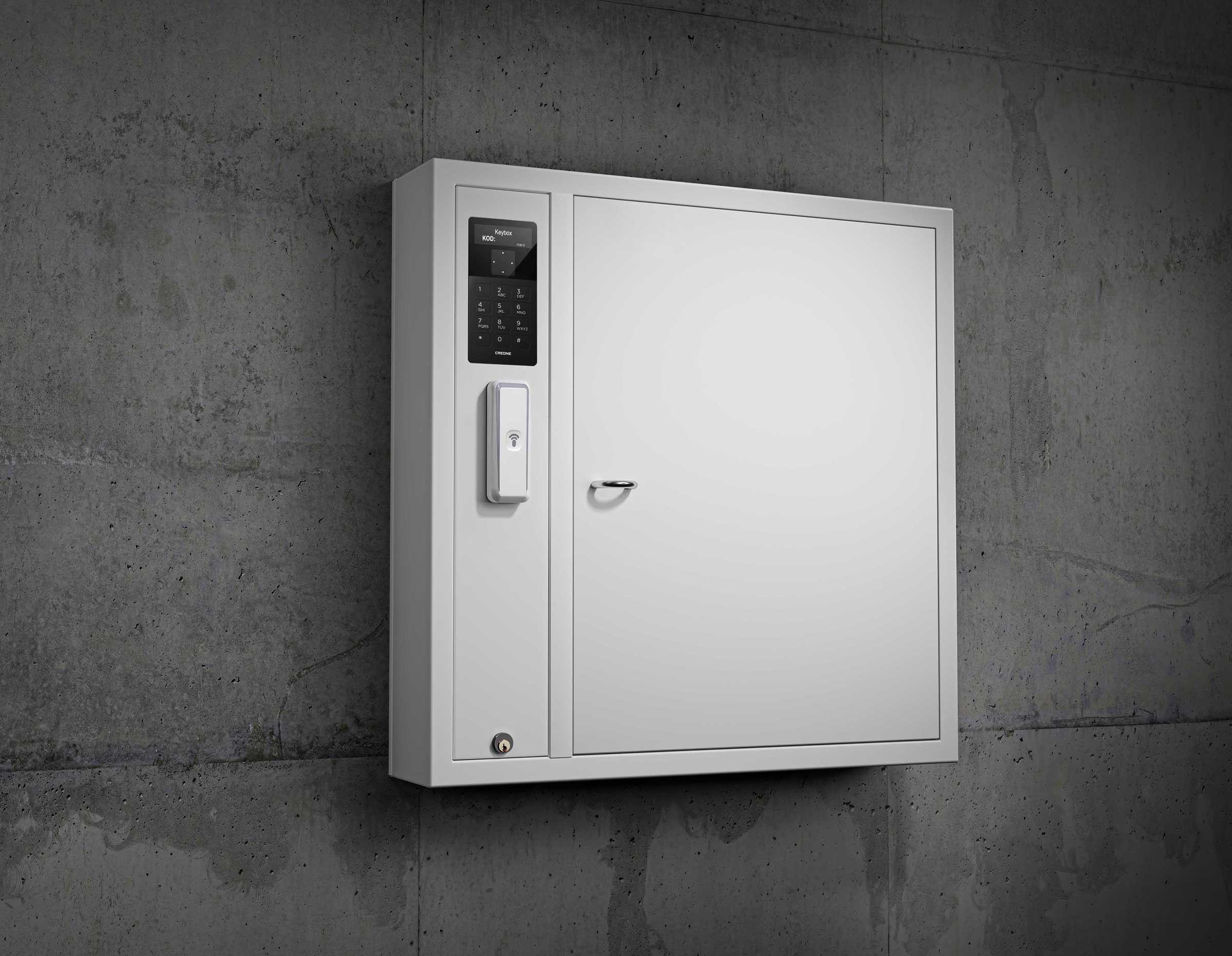 9500 key cabinet in the KeyControl series. Key management system mounted on a wall in office premises.