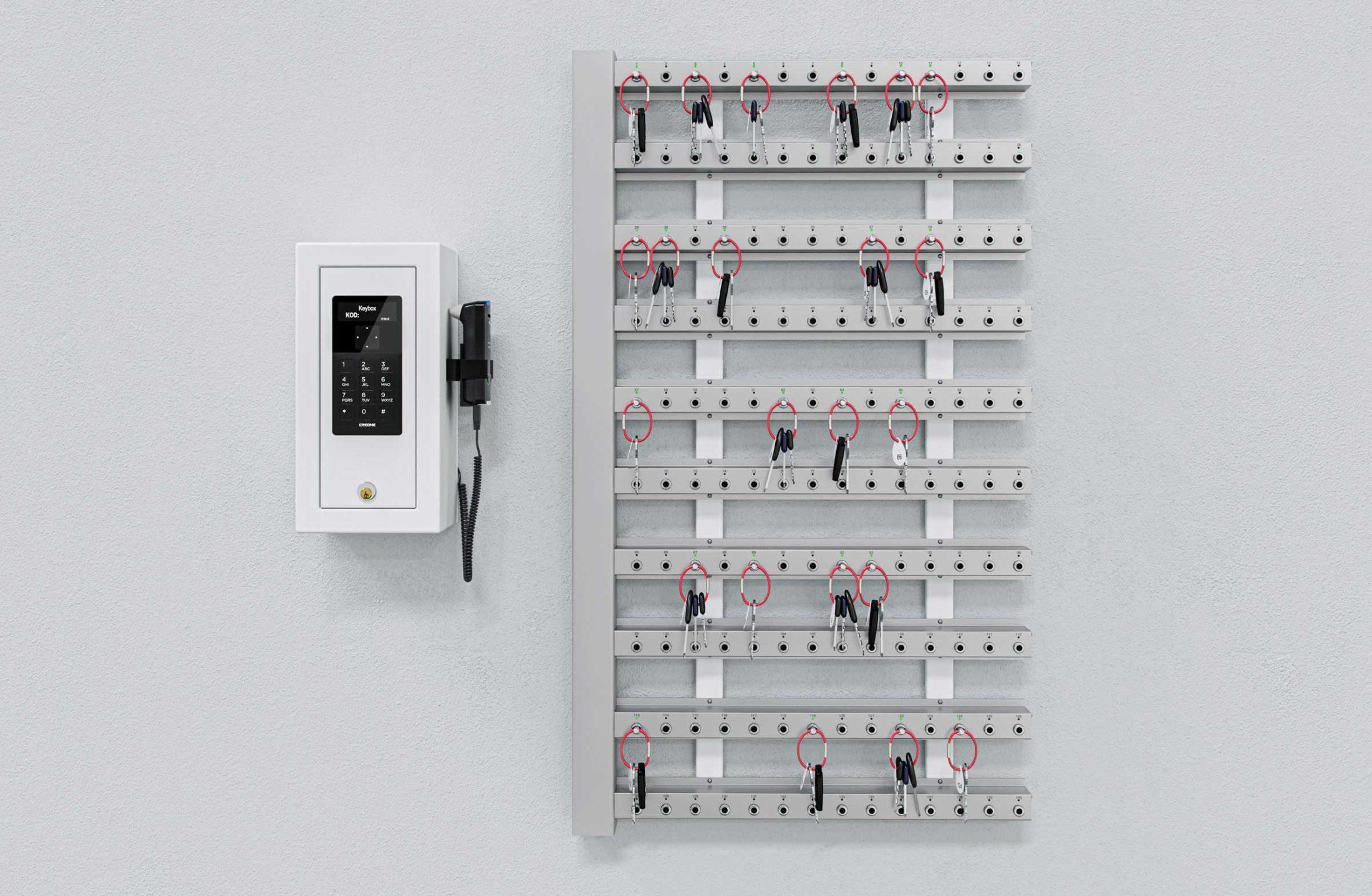 Intelligente sleutellijsten met een control box en wandmontage voor sleutelbeheer.