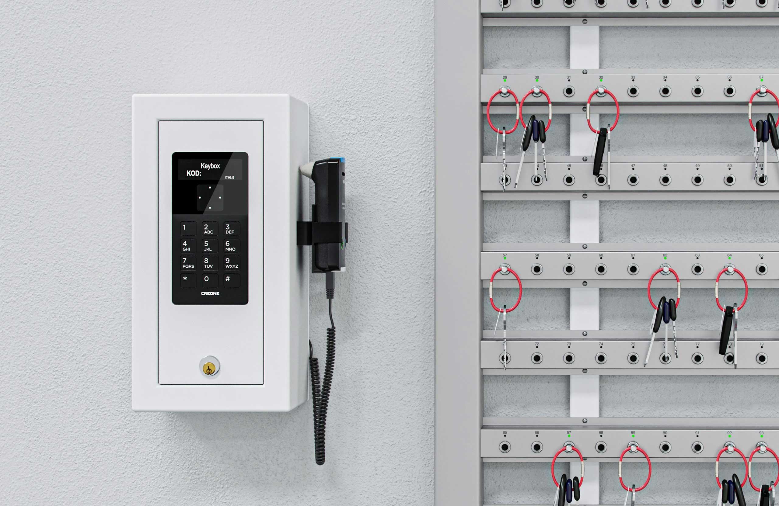Intelligente sleutellijsten met een control box en wandmontage voor een unieke sleutelmanagementoplossing.