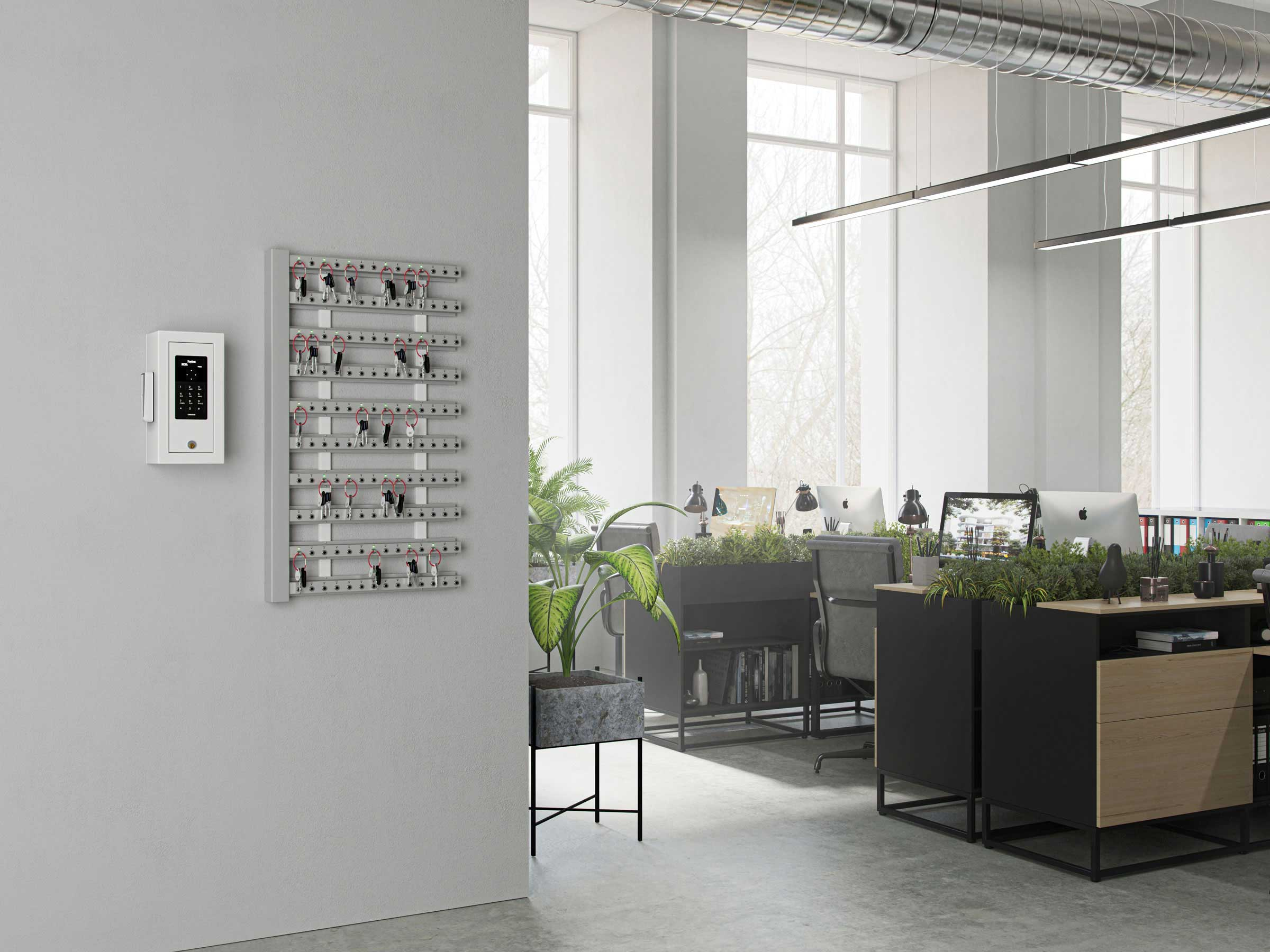 10 intelligent key strips with control box mounted on the wall and key cabinet for a unique key management.
